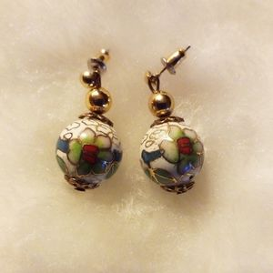 Enamel Flower Painted Pierced Earrings
